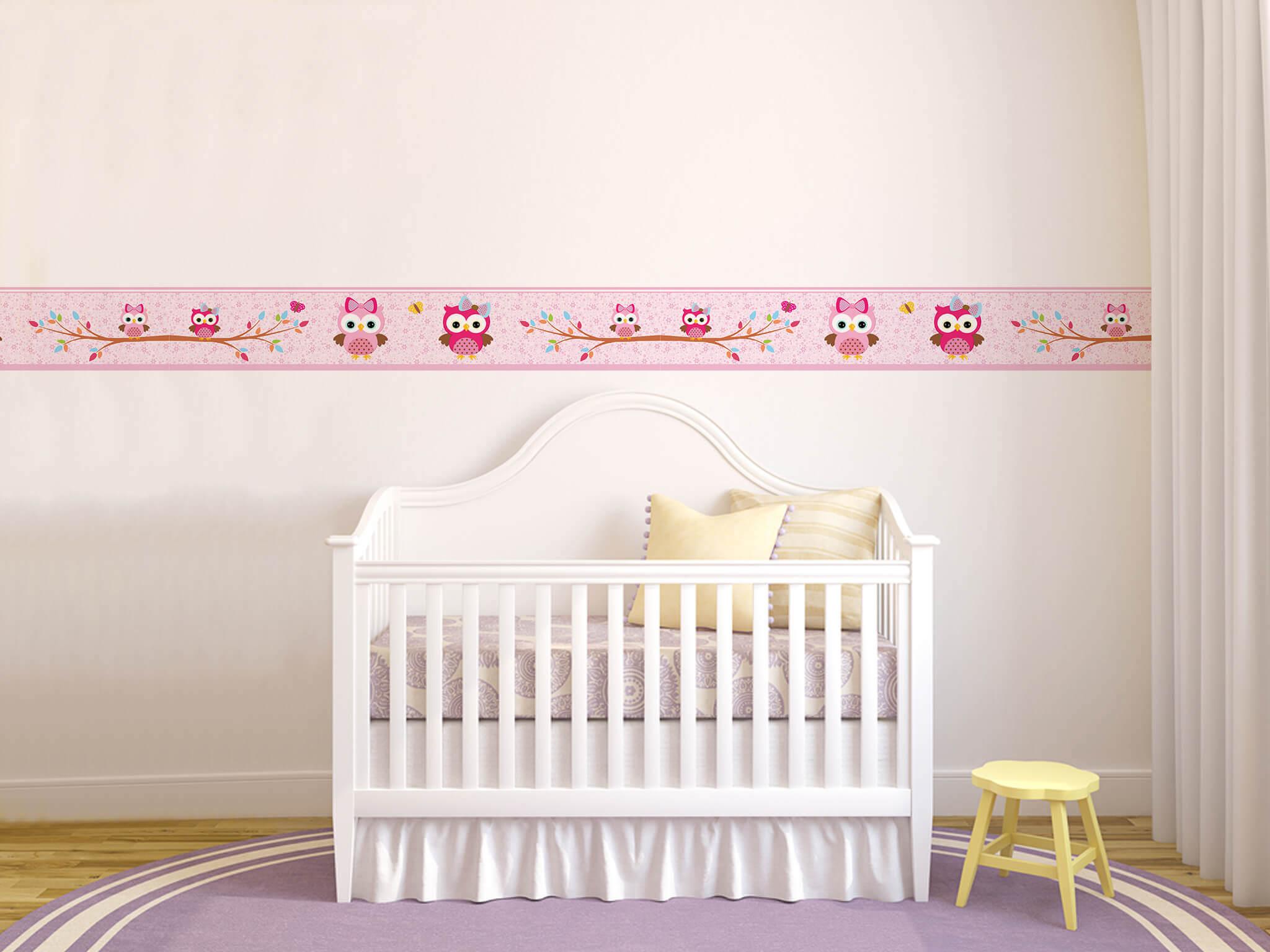 Faixa Quarto Bebe ~ decoracao do quarto de bebe faixa adesiva corujinhas border Decorar& Crescer